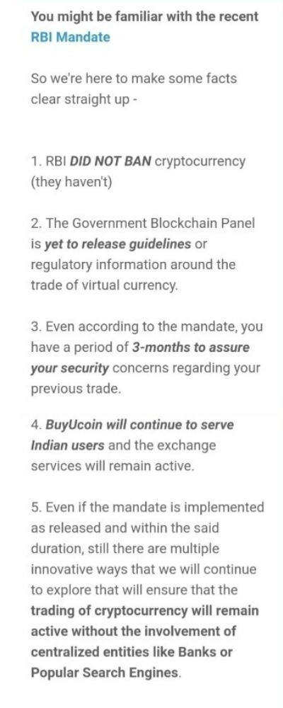 what is buyucoin response to RBI ban