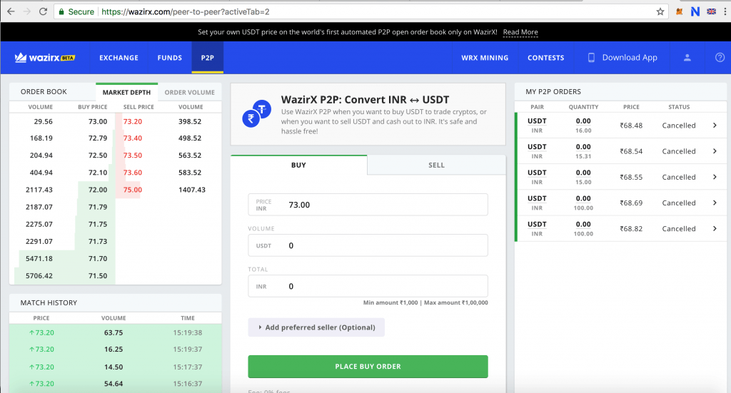 wazirX peer to peer exchange for USDT and INR
