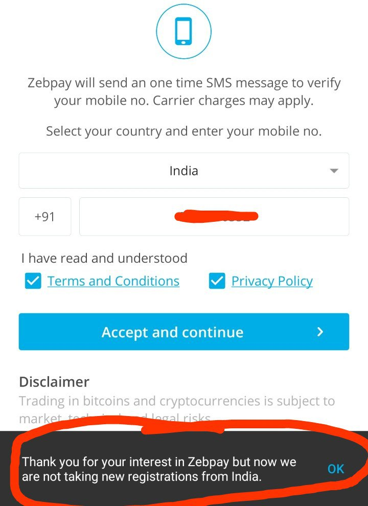 zebpay error for new indian registration.