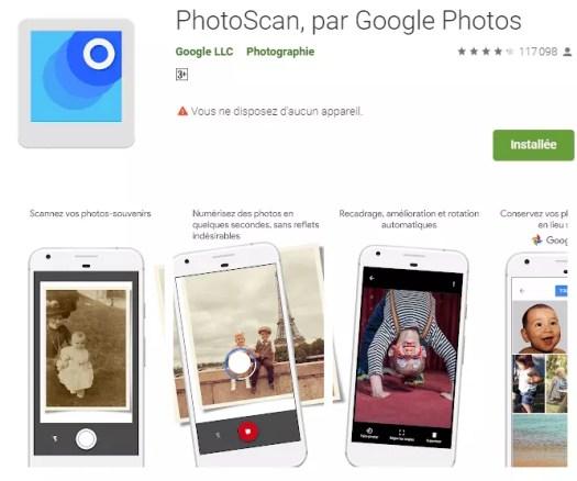 PhotoScan - applications pour numériser un documents