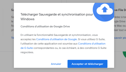 Synchronisation Google drive