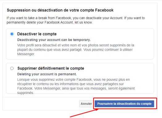 comment supprimer un compte facebook sur téléphone