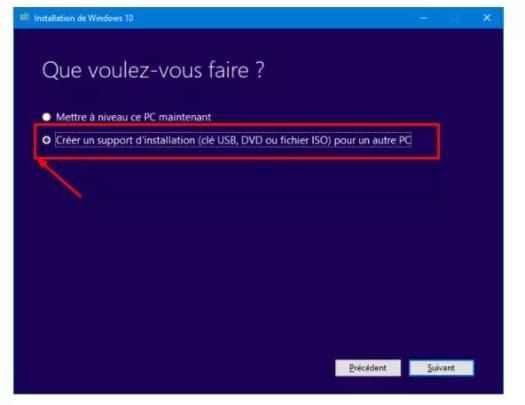 Créer un support d'installation (clé USB, DVD ou fichier ISO) pour un autre PC