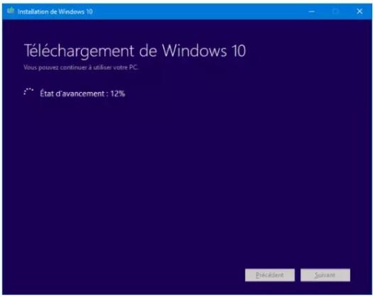 téléchargement de Windows 10
