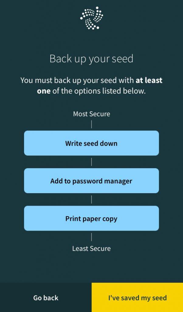 IOTA Trinity Wallet Seed Backup