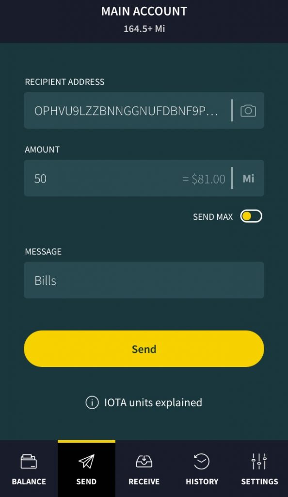 How to send IOTA on Trinity Wallet