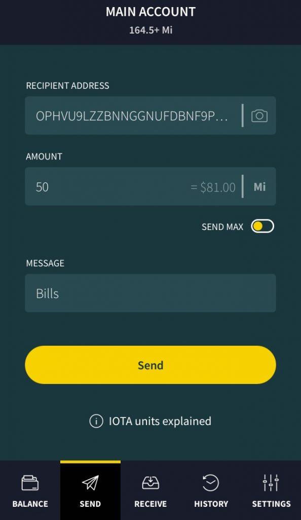 How to send IOTA on Trinity Wallet