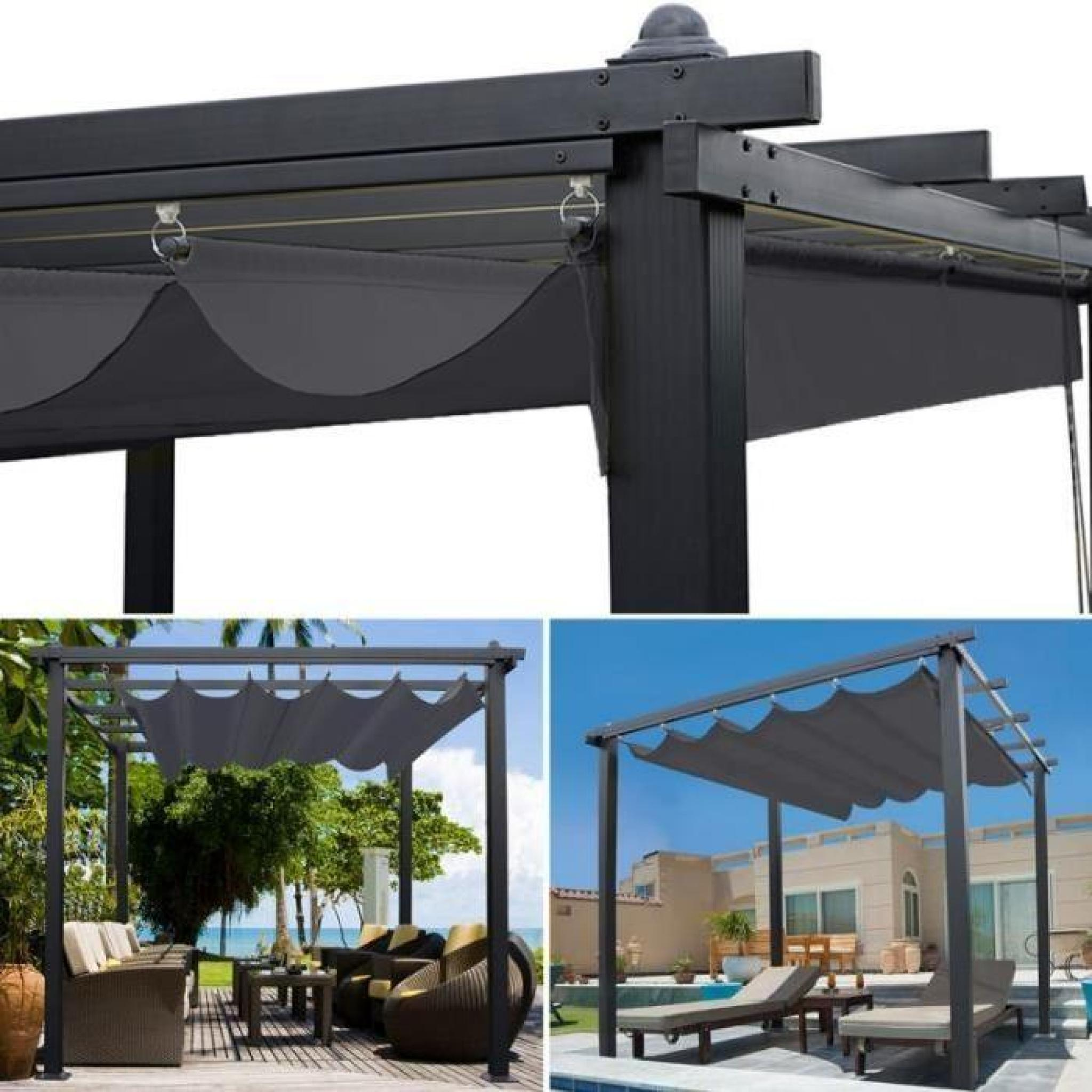 pergola aluminium 3x3 toile impermeable coulissante. Black Bedroom Furniture Sets. Home Design Ideas