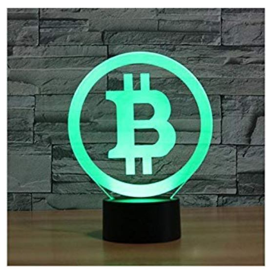 3D Bitcoin optische Illusions-Lampe
