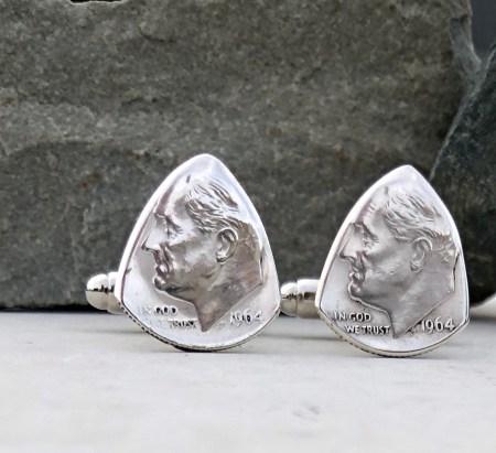 1964 US 90% Silver Dime Cufflinks 1 Coin Guitar Pick, Coin Guitar Picks