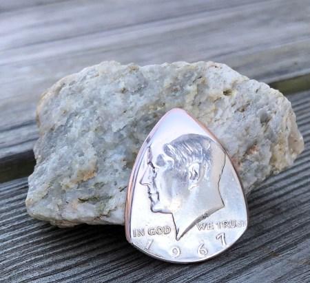 1967 40% Silver Kennedy US Half Dollar 1 Coin Guitar Pick, Coin Guitar Picks