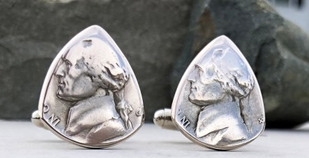 War Nickel 35% Silver Cufflink 1 Coin Guitar Pick, Coin Guitar Picks