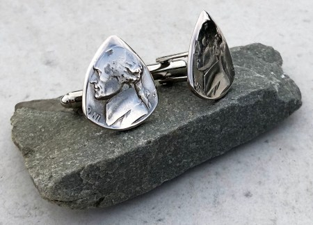 War Nickel 35% Silver Cufflink 2 Coin Guitar Pick, Coin Guitar Picks