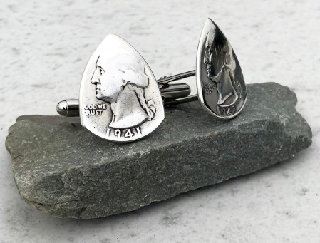 1941 90% Silver US Quarter Cuff Links Coin Guitar Pick, Coin Guitar Picks
