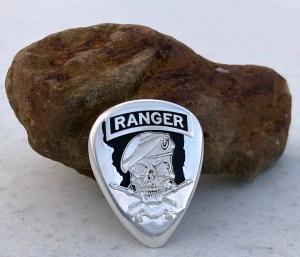 Army Ranger 999% Silver 2 Coin Guitar Pick, Coin Guitar Picks
