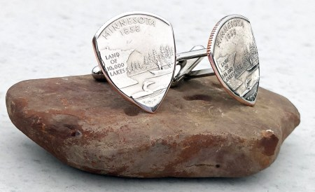 US State Quarter Cufflinks-You Choose the State Coin Guitar Pick, Coin Guitar Picks