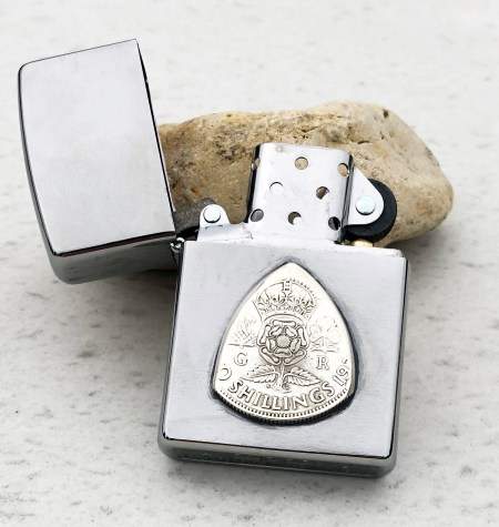 Zippo Soft Flame Lighter with 1938 50% Silver England 2 Shillings Coin Guitar Pick, Coin Guitar Picks