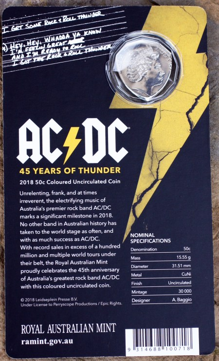 AC/DC 45 Years of Thunder (2018) UK 50 Cents Coin Guitar Pick, Coin Guitar Picks Packaging