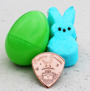 Happy Easter Copper Round Front Coin Guitar Pick, Coin Guitar Picks