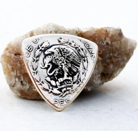 Mexico Peso 10 Silver Triangle Random Year Coin Guitar Pick, Coin Guitar Picks