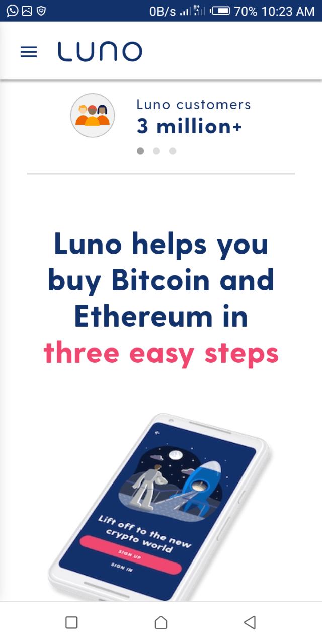 Luno homepage