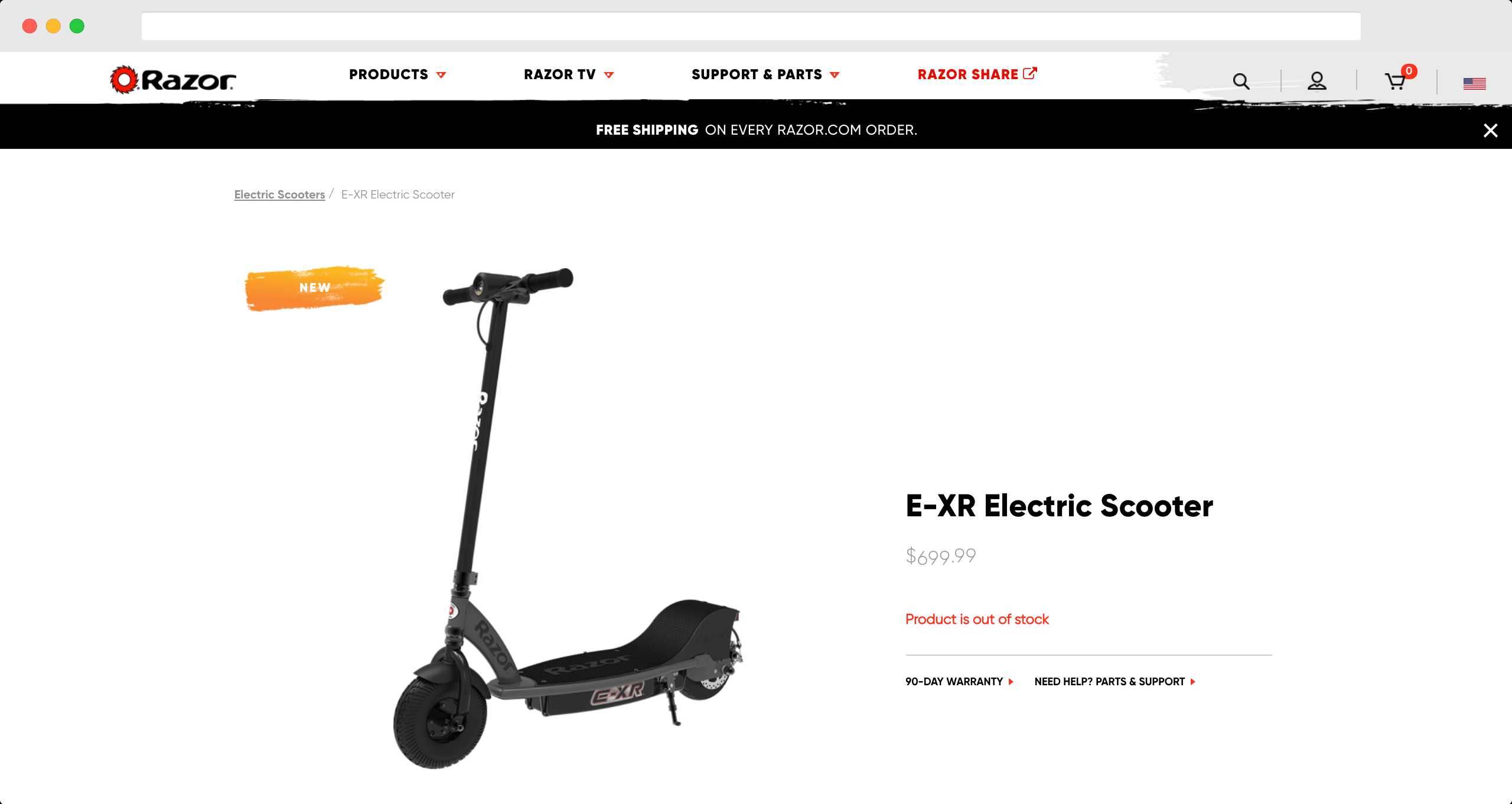 E-XR Electric Scooter Page