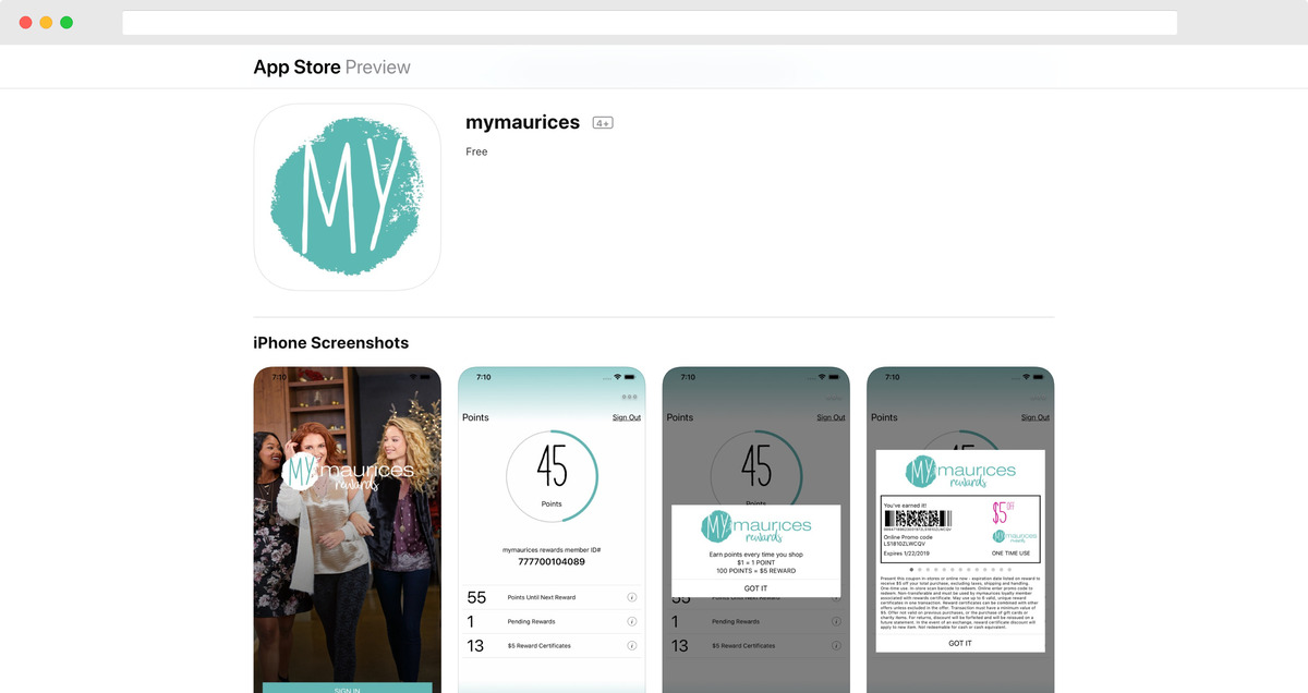 Mymaurices app on the App Store