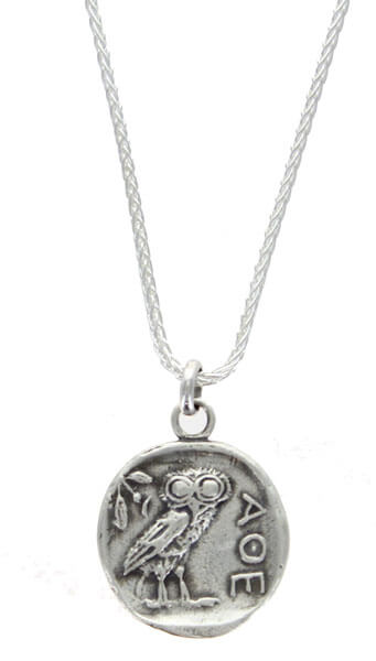 Athens Owl Necklace Sterling Silver Necklace