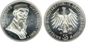 Germany 1968 coin Gutenberg