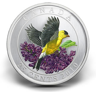 2010-GOLDFINCH-25-CENT-COLOURED-COIN
