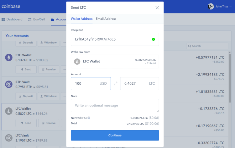 Sending Litecoin from Coinbase to Binance