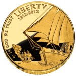 2012 Star-Spangled Banner Gold Commemorative Obverse depicts a naval battle scene from the War of 1812, with an American sailing ship in the foreground and a damaged and fleeing British ship in the background. Designed by Donna Weaver and engraved by Joseph Menna.