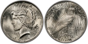 Artist's conception of a 1964-D Peace dollar.