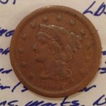 1851 Braided Hair Large Cent obverse