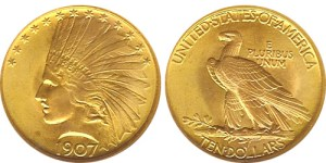 Augustus Saint-Gaudens designed the $10 Indian Head gold eagle that was first released in 1907.