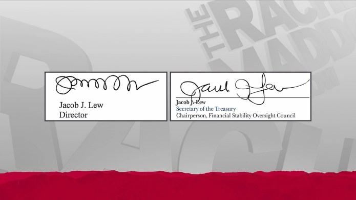MSNBC on-air comparison of Jack Lew's autographs: the original Lewpts on the left and what will appear on U.S. currency to the right.