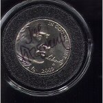 AIP Artist Joe Fitzgerald autographed this 2005 Westward Journey Nickel. They used his design.