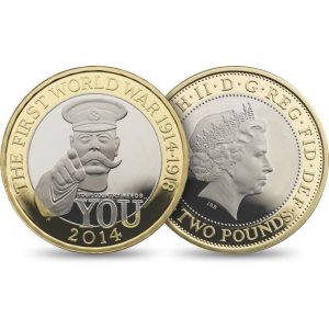 2014 £2 coin commemorating the 100 year anniversary of the start of World War I