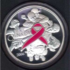 2006 Breast Cancer Silver Coin with colored pink ribbon.