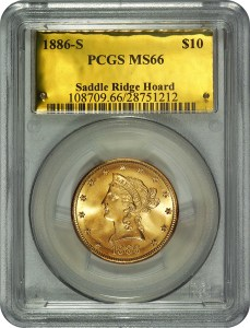 "One of the 1,427 ""Saddle Ridge Hoard"" buried treasure gold coins certified by PCGS."