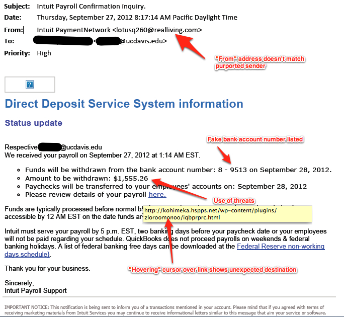 Anatomy of a Phishing email(courtesy of the University of California-Davis)