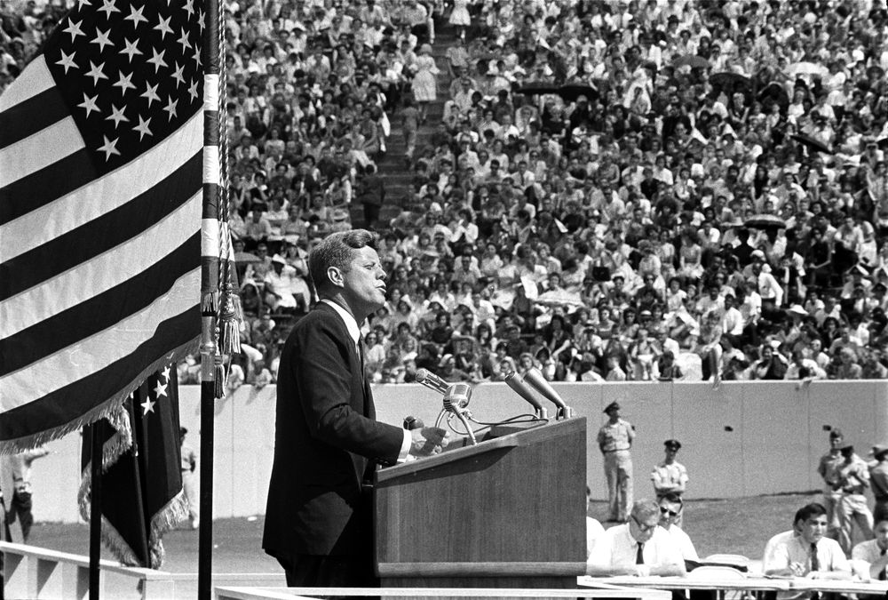 John F. Kennedy speaking at Rice University where he gave his famous speech declaring the U.S. will land on the moon before the end of the decade.