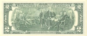 Reverse of the $2 Federal Reserve Note features an engraved modified reproduction of the painting The Declaration of Independence by John Trumbull.