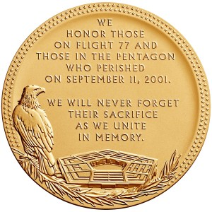 Reverse of the Pentagon Fallen Heroes medal designed and engraved by Phebe Hemphill