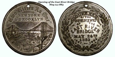 Medal from the opening of the Brooklyn Bridge in 1883
