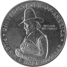 This coin commemorates the 300th anniversary of the landing of the Mayflower. The image is of a pilgrim carrying a Bible.