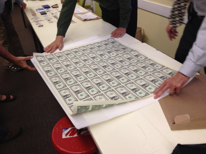 A view of the 50 Note Sheet of $1 Federal Reserve Notes.