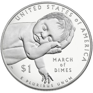 2015-W March of Dimes Commemorative dollar reverse