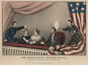 Lithograph depicting Lincoln's Assassination by Currier and Ives.