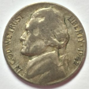 "1942-P Jefferson ""War"" Nickel obverse"